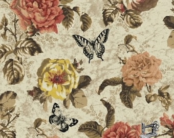 1/2 yd Afternoon Tea Large Floral Fabric by Whistler Studios for Windham 42825-2