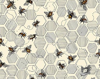 Bee Kind Honeycomb & Bees Fabric // Paintbrush Studio by the HALF YARD