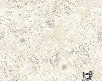 1/2 yd Hydrangea Dreams Ivory Postage Fabric by Chad Barrett for Wilmington Prints Fabric 3008 96441 191