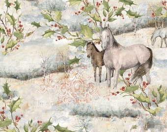 1/2 yd Mid Winter Scenic Horses Fabric by Susan Winget for Springs Creative 68257-3890715