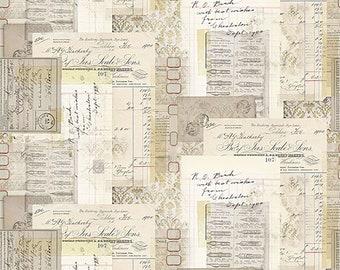 Tim Holtz Memoranda 3 Cabinet Makers Fabric // FreeSpirit PWTH111.MULTI by the Half Yard