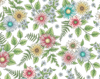 1/2 yd Roam Sweet Home Wild Flowers by Kris Lammers for Maywood Studio MAS8223-W