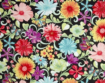1/2 yd Meadow Dance Wildflowers by Amanda Murphy for Contempo Studio Fabrics  4040B-11