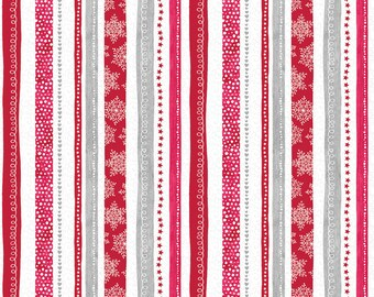 1/2 yd Hearty the Snowman Swirl Stripe Fabric by Cherry Guidry for Contempo 07572-10