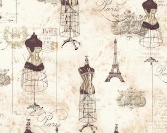 "END of BOLT 23"" City of Lights Parchment Dressforms by Robert Kaufman Fabrics ATR16737265"