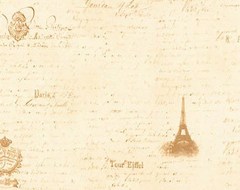 1/2 yd Paris Romance Eiffel Tower by Tre Sorelle Studios for Robert Kaufman SKR-17905-15 IVORY