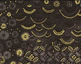 1/2 yd Tadashi Blossoms by Arina Fishkin for Red Rooster Fabrics 24142 Black