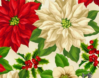 1/2 yd Holiday Lane Large Christmas Floral Fabric by Wilmington Prints 3007 68441 237