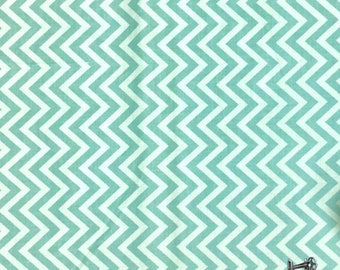 END of BOLT The Sweetest Thing Aqua Chevron Fabric from Riley Blake C2985 Blue