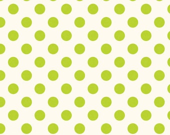 1/2 yd SALE Riley Blake Le Creme Medium Dot on Cream C620-32 LIME
