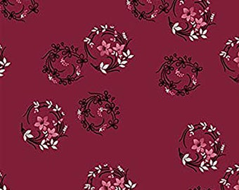 1/2 yd Rouge et Noir Ring Around The Rosie Fabric by Skipping Stones Studio for Clothworks Y2303-82