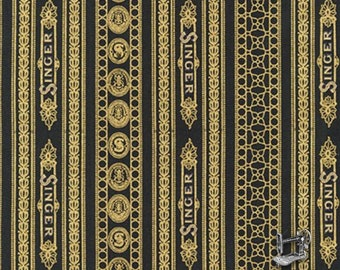 1/2 yd Sewing with Singer Black Stripe w/Metallic Fabric by Robert Kaufman AGZM-17846-2