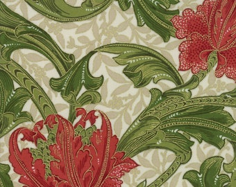 1/2 yd Morris Holiday V & A Museum Reproduction 1905 Single Stem by Moda Fabric 7310 11M Metallic Linen