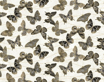 Fantasia Butterflies Fabric // Northcott 22957M-91 Pale Grey by the HALF YARD