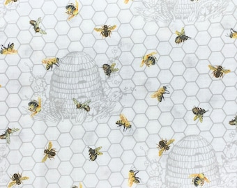 Chelsea Beehive & Bee Fabric // Northcott Studio 23060-10 by the HALF YARD