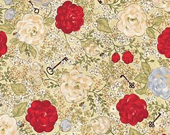 1/2 yd Riverwoods My Secret Garden Red White Floral Fabric from Troy 1465-4