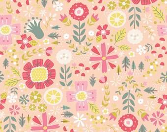 1/2 yd Goldilocks Floral by Jill Howarth for Riley Blake Fabrics C5711 Coral