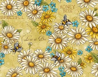 Bee Kind Flowers & Words Fabric // Paintbrush Studio by the Half Yard