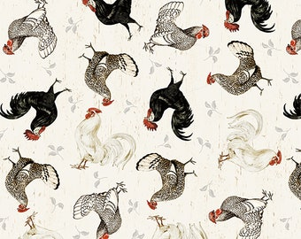"REMNANT 20"" Free Range Fresh Chicken Toss Fabric by Katie Pertiet for Wilmington Prints 3027 16512 139 Cream"