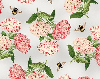 1/2 yd Le Bouquet & Bee Toss Fabric by Wilmington Prints 3007 68468 931 Grey