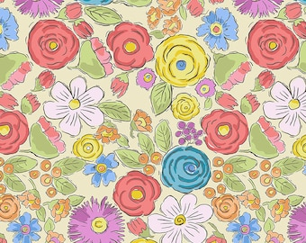 1/2 yd Color Fusion Bouquet by Laura Heine for FreeSpirit Fabrics PWLH020.YELLOW