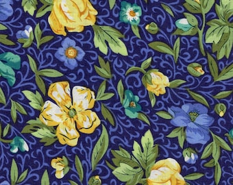 1/2 yd Yellow & Blue Floral Fabric by EESCO  EESCRC1519-N