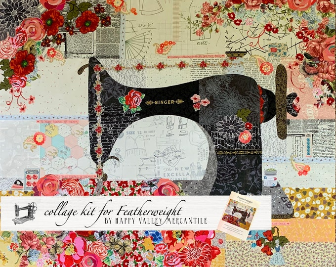 Featured listing image: Collage Quilt Kit FEATHERWEIGHT Collage for Laura Heine's Collage Pattern FBWHFEATHER // Certified Laura Heine Instructor