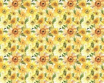 Watercolor Beauty Sunflower Fabric // In The Beginning IBFWAB 6GSH-1 by the Half Yard