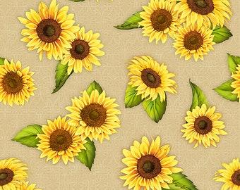 1/2 yd Jardin Du Soleil Sunflower Toss Fabric by Wilmington Prints 3022 32062 257 Tan