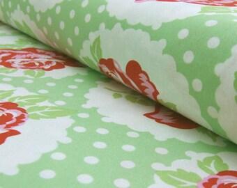 1/2 yd Delilah Lulu Rose by Tanya Whelan for Free Spirit Pink TW41 Green OOP