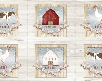 "24"" Farm Life Picture Patches Panel Fabric by Christine Andersen for Quilting Treasures 27676 -E"