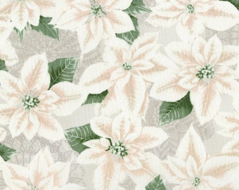 1/2 yd Let it Sparkle Pearly Poinsettia by RJR Fabrics 3485-002 Winter White
