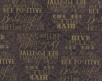1/2 yd Bee Creative Hive Rules by Deb Strain for Moda Fabrics 19752 15 Ebony