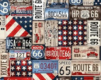 1/2 yd All American Road Trip License Plates by Studio E Fabrics 4318-77