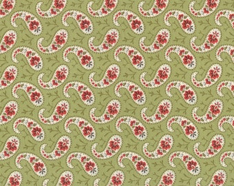 SALE Snowfall Paisley by Minick Simpson for Moda Fabrics 14834 13 Green PER yard