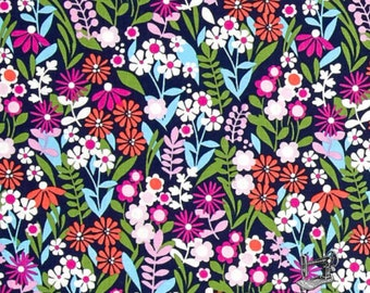 1/2 yd Michael Miller Saturday Morning Fresh Flowers Navy Fabric CX7315 Navy D