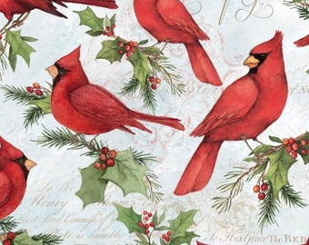 END of BOLT 7 inches Christmas Cardinal Fabric by Susan Winget for Springs Creative SPR66679-A620715