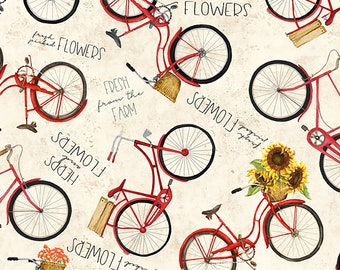 Country Road Market Bikes // Bicycles Fabric // Wilmington Prints 1665 33840 2 35 by the HALF YARD