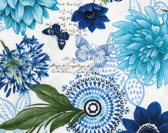 1/2 yd Butterfly Grotty Navy Floral Butterflies by Timeless Treasures Fabric Collection C5681-NAT