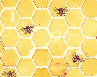 1/2 yd Pollinator Bumblehoney Fabric by Leslie Tucker Jenison for RJR Studios LT303-YE2 Yellow