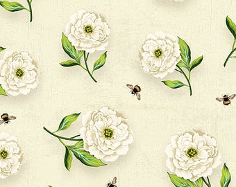 Floral Serenade Peony Toss Fabric // Wilmington Prints 3007 68494 217 Cream by the HALF YARD