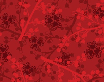 1/2 yd Jubilee Holiday Wine Berries by Amanda Murphy for Contempo Studio Fabrics  5427-87