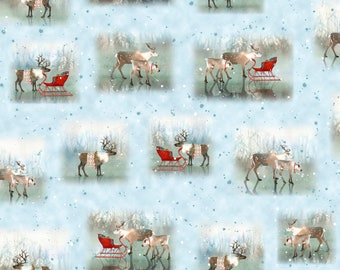 Lake Caribou Nordic Deer Vignettes Fabric by ©Lynnea Washburn for Quilting Treasures 27080-B by the Half Yard