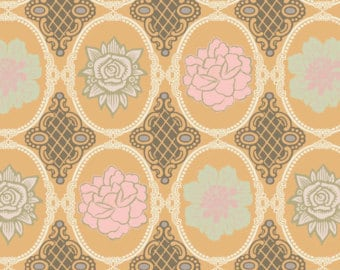 1/2 yd Dashing Roses Amber Antique Roses by Pat Bravo for Art Gallery Fabrics DR 404