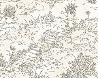 1/2 yd Thyme with Friends Herbal Toile by Kris Lammers for Maywood Studio MAS8330-A