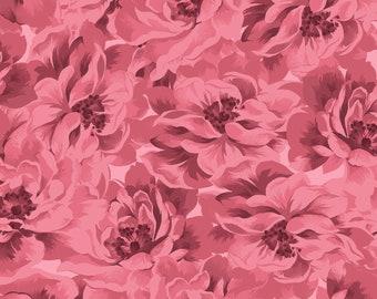 "END of BOLT 23"" Burgundy & Blush Full Bloom Fabric by Maywood Studio MAS9361-P2"