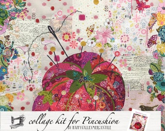 RESERVED for Vinaya Fabric Collage Quilt Kit for Laura Heine's Pincushion Collage Pattern LHFWPINCUS30