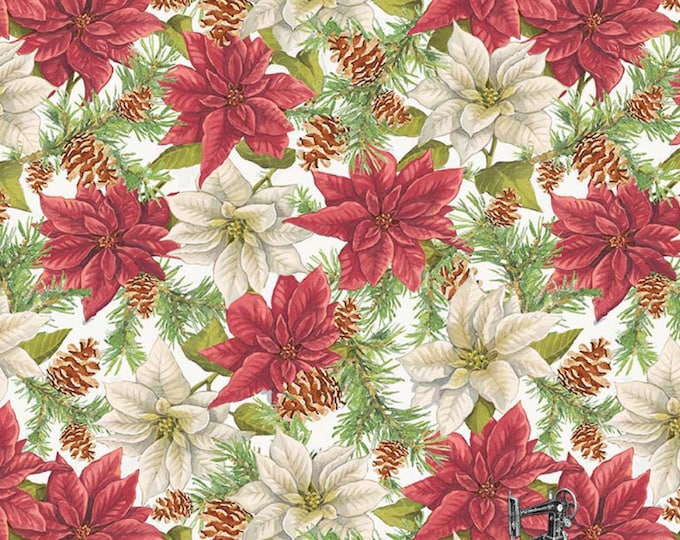 1/2 yd Anne of Green Gables Christmas Poinsettia by Riley Blake Designs & Penny Rose Fabrics C6491