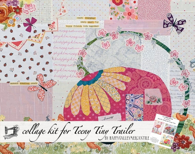 Featured listing image: Teeny Tiny Trailer #3 Fabric Collage Quilt Kit for Laura Heine's Collage Pattern FBWTT3