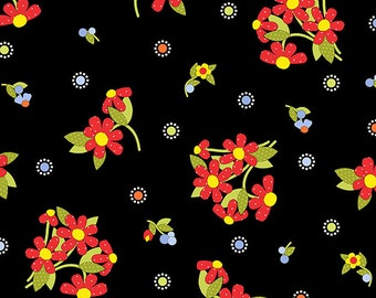 """END of BOLT 35"""" Bicycles and Blooms Small Floral by Jillily Studios for Henry Glass #9880 98 Black"""
